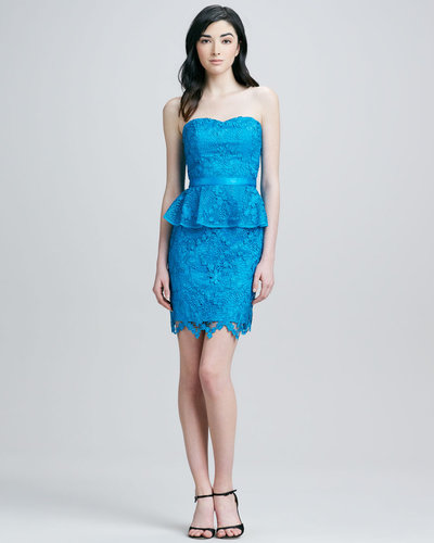 Aidan by Aidan Mattox Strapless Peplum Lace Cocktail Dress