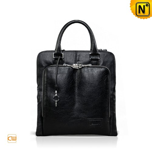 Mens Black Leather Bag CW972325 - cwmalls.com