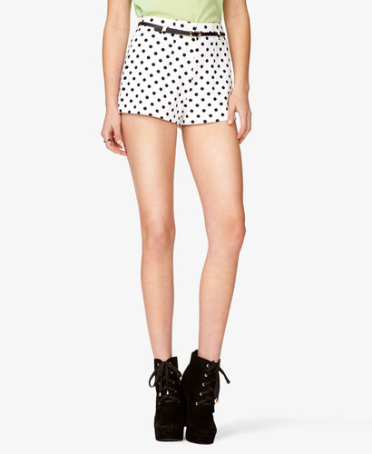 FOREVER 21 High-Waisted Polka Dot Shorts