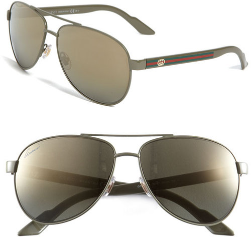 Gucci 'Ribbon' 58mm Aviator Sunglasses
