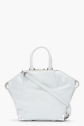 ALEXANDER WANG Glacier White Python Leather Emile Tote