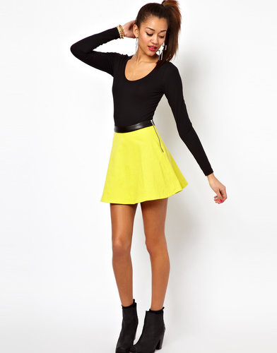 Motel Kadie Skater Skirt with PU Trim