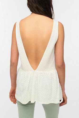 Lucca Couture Drop-Waist V-Back Peplum Tank Top