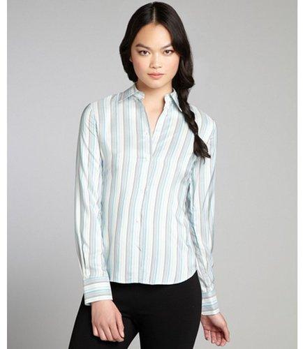 Loro Piana pale blue striped silk button down blouse