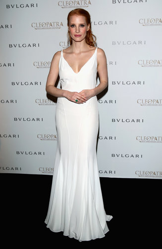 Jessica Chastain was angelic in her white Givenchy by Riccardo Tisci gown at the Cleopatra cocktail party at the Cannes Film Festival.