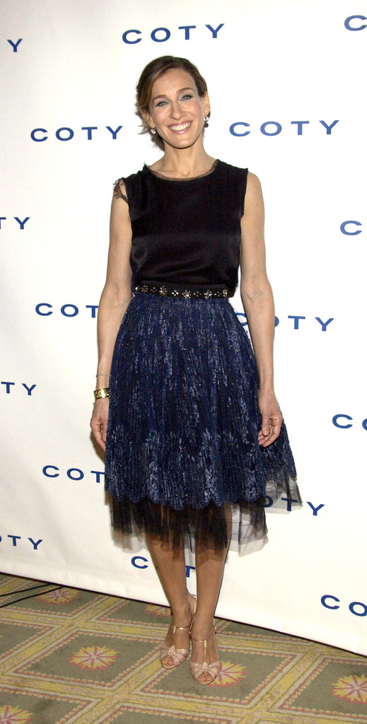 Parker married black and navy in a shimmering tulle creation during a 2005 fragrance announcement in NYC.