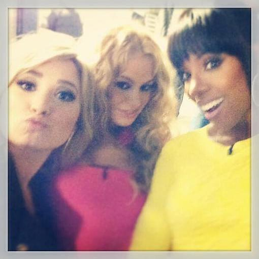 Demi Lovato posed with her new fellow X Factor judges Paulina Rubio and Kelly Rowland. Source: Twitter user ddlovato