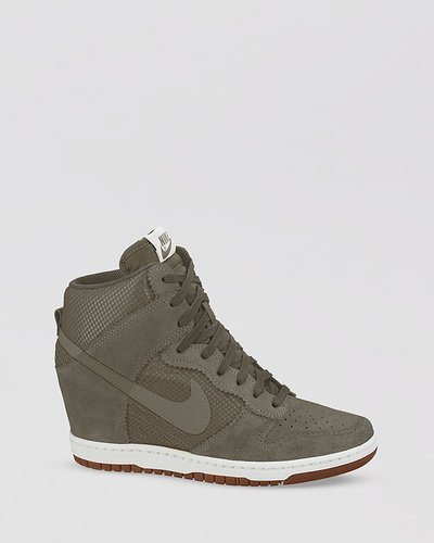 Nike Lace Up High Top Sneaker Wedges- Women's Dunk Sky Hi Mesh