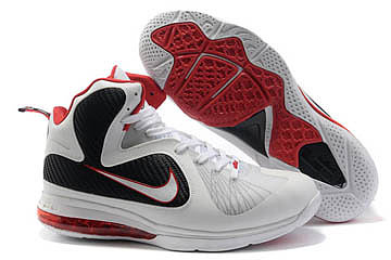 Nike Lebron James IX 9 White/Black/Red Mens Basketball 65524