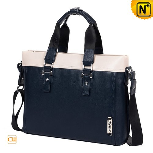 Blue Leather Business Bags CW901580 - cwmalls.com