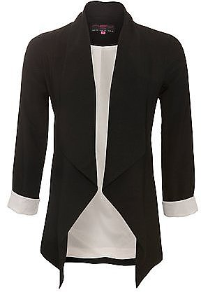 Black Longline Waterfall Blazer