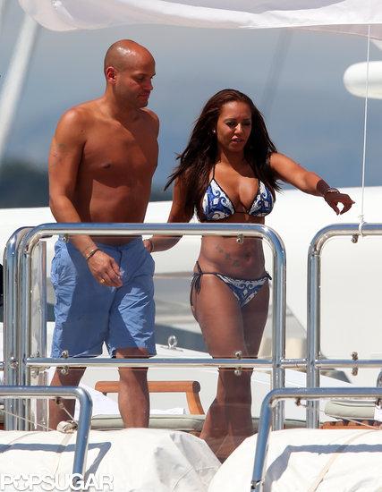 Mel B walked around a yacht with her husband, Stephen Belafonte.