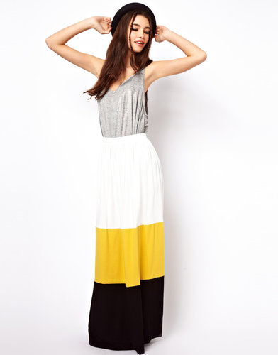 ASOS Maxi Skirt in Color Block
