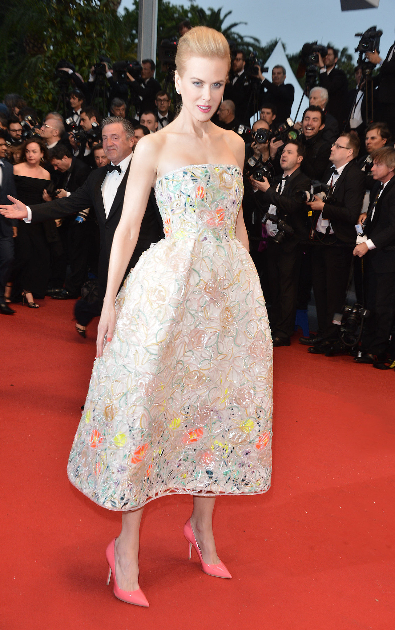 Nicole Kidman was a ladylike vision in her embellished Dior gown and neon pink pumps at the Cannes premiere of The Great Gatsby.