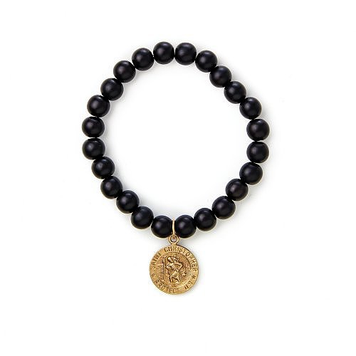 travel charm wood bead bracelet