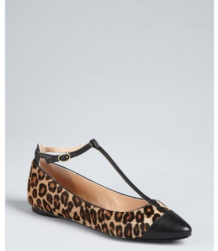 BELLE by Sigerson Morrison brown leopard print calf hair t-strap flats