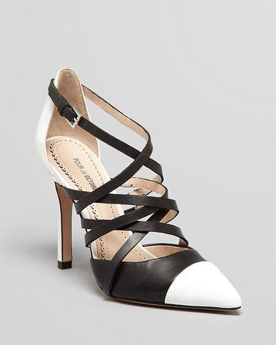 Pour la Victoire Cap Toe Pointed Toe Pumps - Colettea Two Tone High Heel