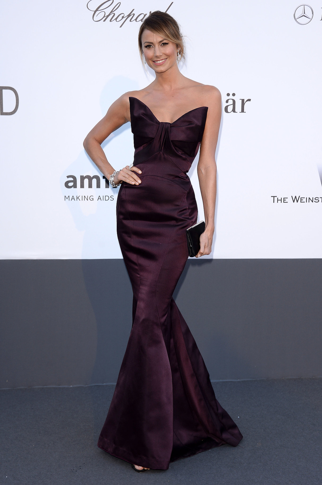 Stacy Keibler s eggplant hued mermaid gown featured a