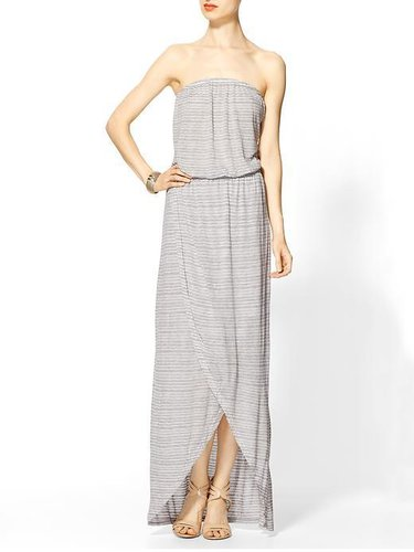 Gypsy 05 Megan Crepe Stripe Strapless Wrap Maxi Dress