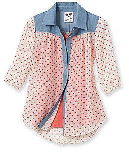 Belle du Jour Girls' 7-16 White Chambray 2-pc. Heart Print Top