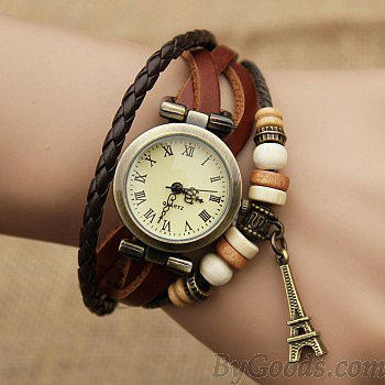 Retro Eiffel Tower Twist Bracelet Watch