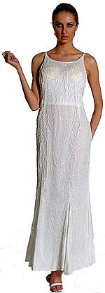 Silk Full Length Beaded Formal Dress
