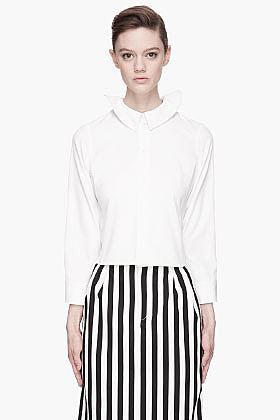 MARC JACOBS White Ruffled Collar Cropped blouse