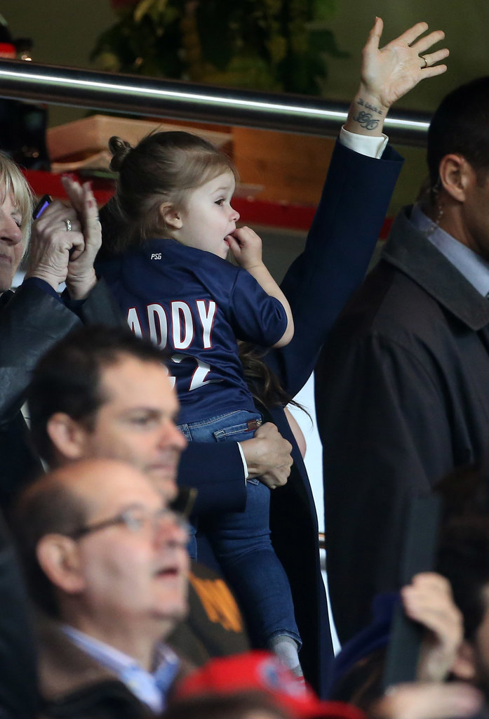 """Harper Beckham wore a """"Daddy"""" jersey to David's final home game with PSG in May 2013."""
