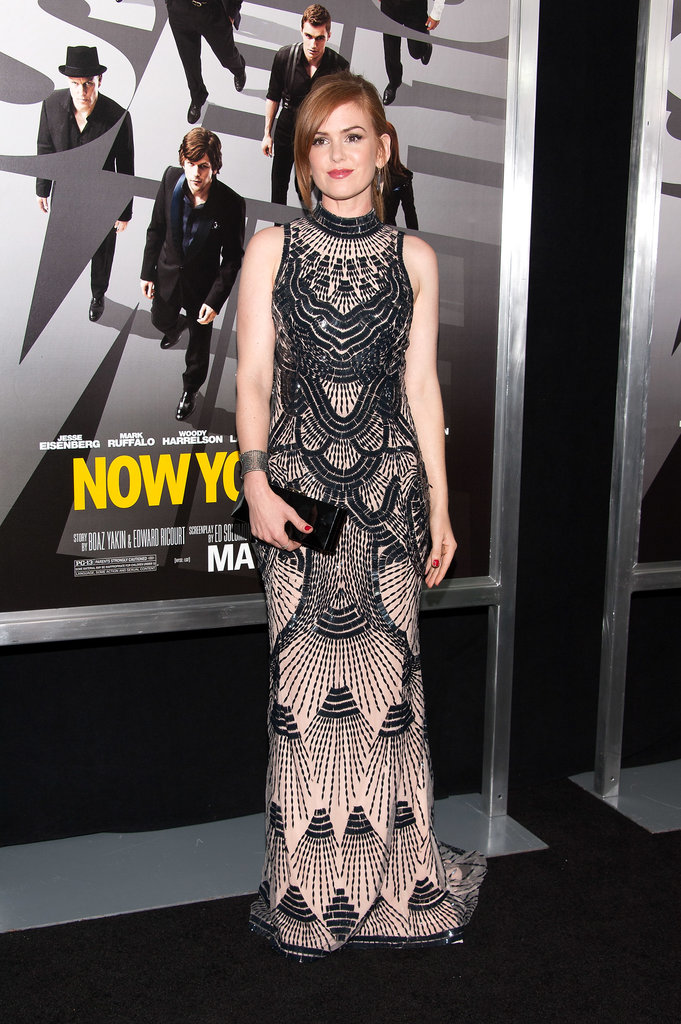 Also out and about promoting her latest flick, Isla Fisher looked statuesque in a beaded, deco-inspired L'Wren Scott dress with Yossi Harari jewelry and a Roger Vivier clutch.