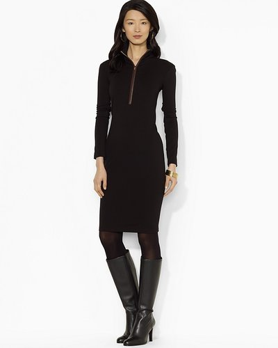 Lauren Ralph Lauren Long Sleeve Zip Neck Dress