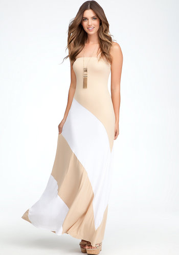 Colorblock Strapless Maxi Dress