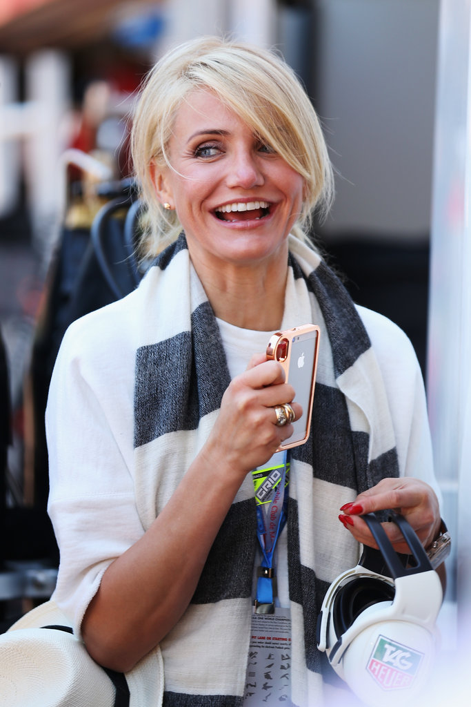 Cameron Diaz flashed a smile at the Grand Prix in Monaco.