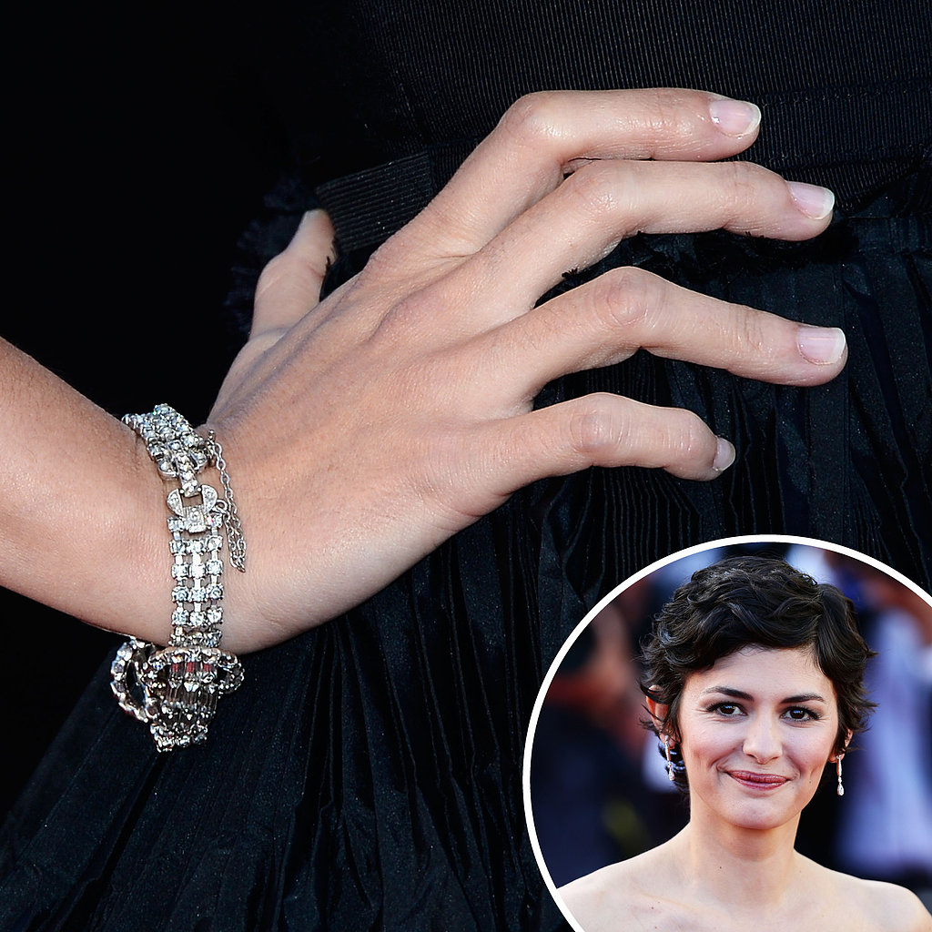 Audrey Tautou was on the red carpet for the premiere of La Vénus à la Fourrure with her sheer manicure for a natural yet polished look.