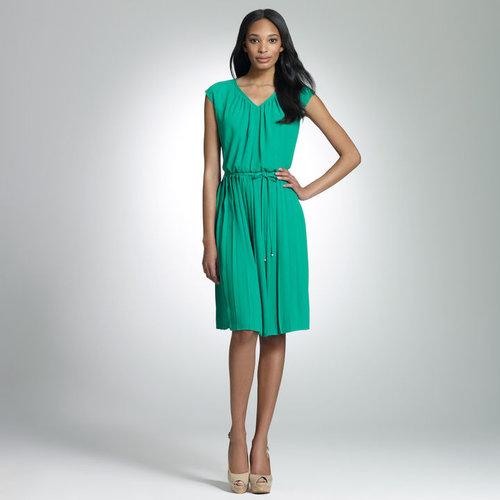 Pleated V-neck Blouson Dress