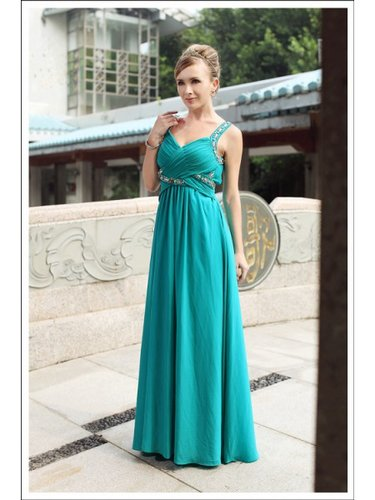High Quality Beading Chiffon A-Line V-neck Floor-length Green Prom Dress WNP0007