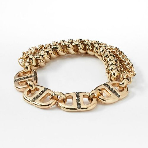 Simply vera vera wang gold tone simulated crystal chain multistrand stretch bracelet