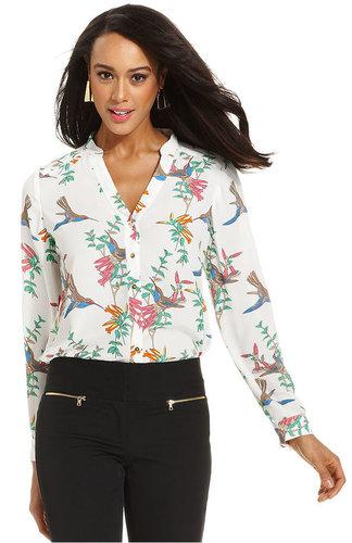 Alfani Petite Top, Long-Sleeve Printed Shirt