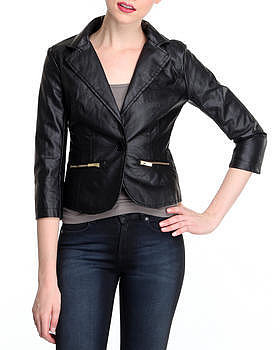 SALES angel squad vegan leather blazer w/zipper