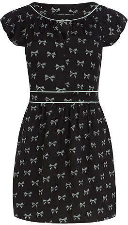 Black bow print tunic