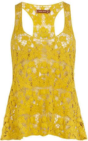 Yellow crochet vest top