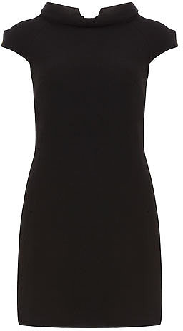 Black collared shift dress