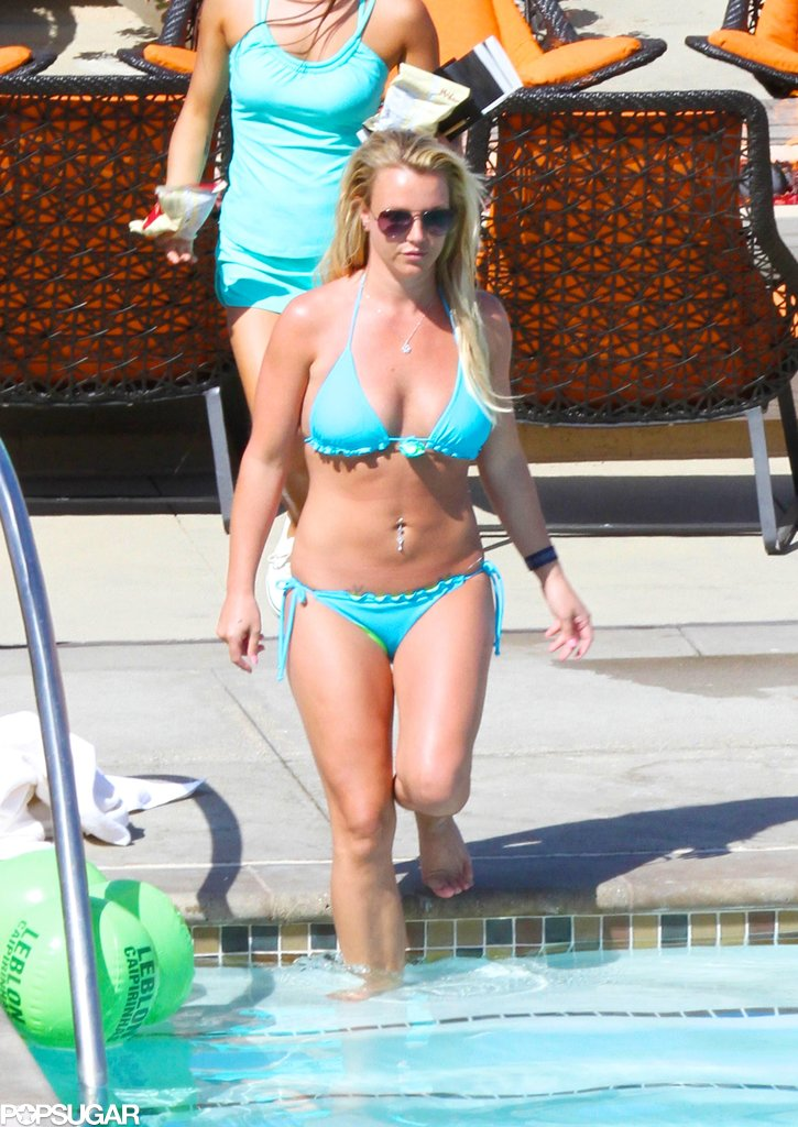Britney Spears donned a bright bikini to hit the pool at a resort in Rancho Palos Verdes, CA, with her boyfriend, David Lucado.
