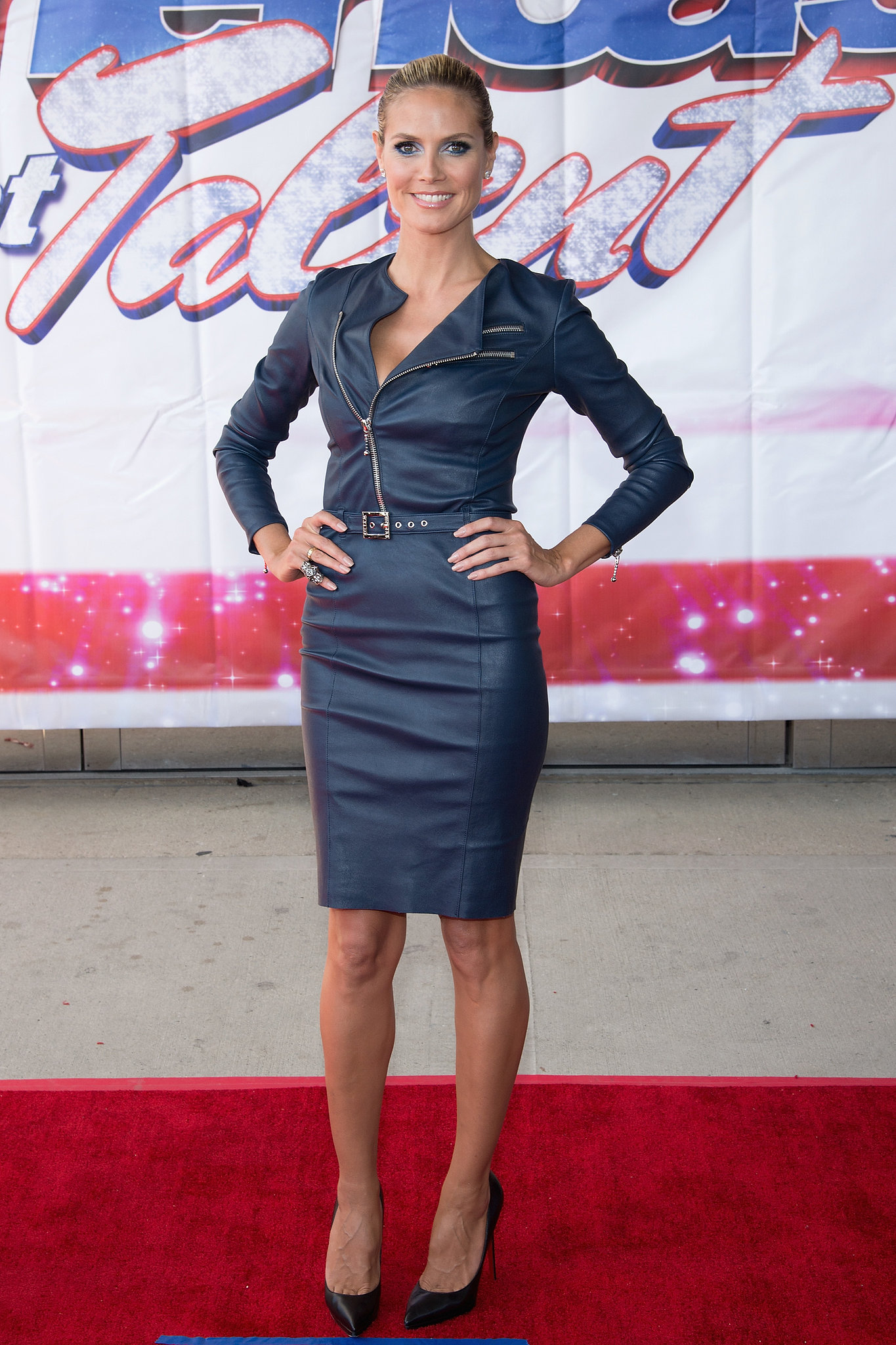 Heidi Klum in a Moto-Inspired Thomas Wylde Dress at a 2013 America's Got Talent Event