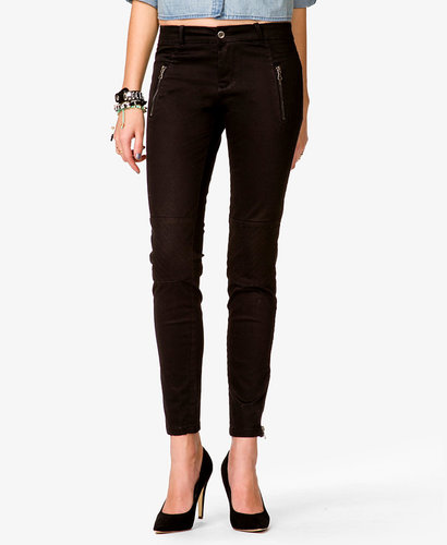 FOREVER 21 Quilted Patch Skinny Jeans