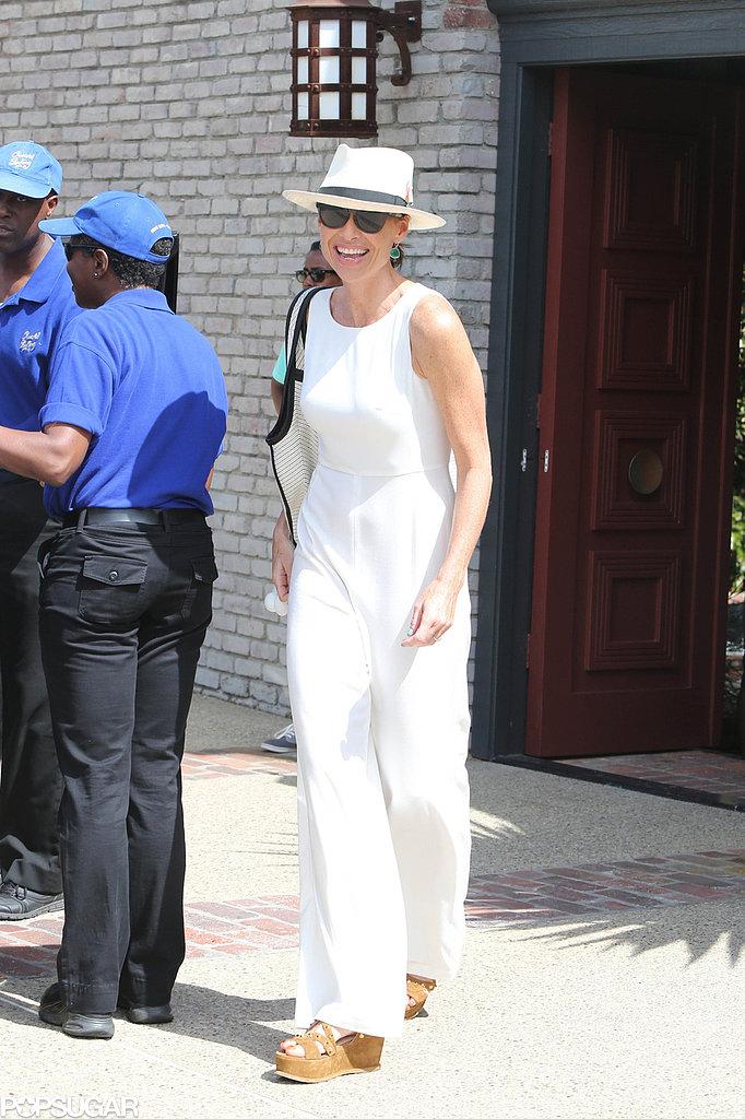 Minnie Driver wore an all-white ensemble.