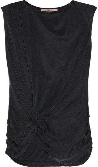 Halston Heritage Draped washed-cupro top