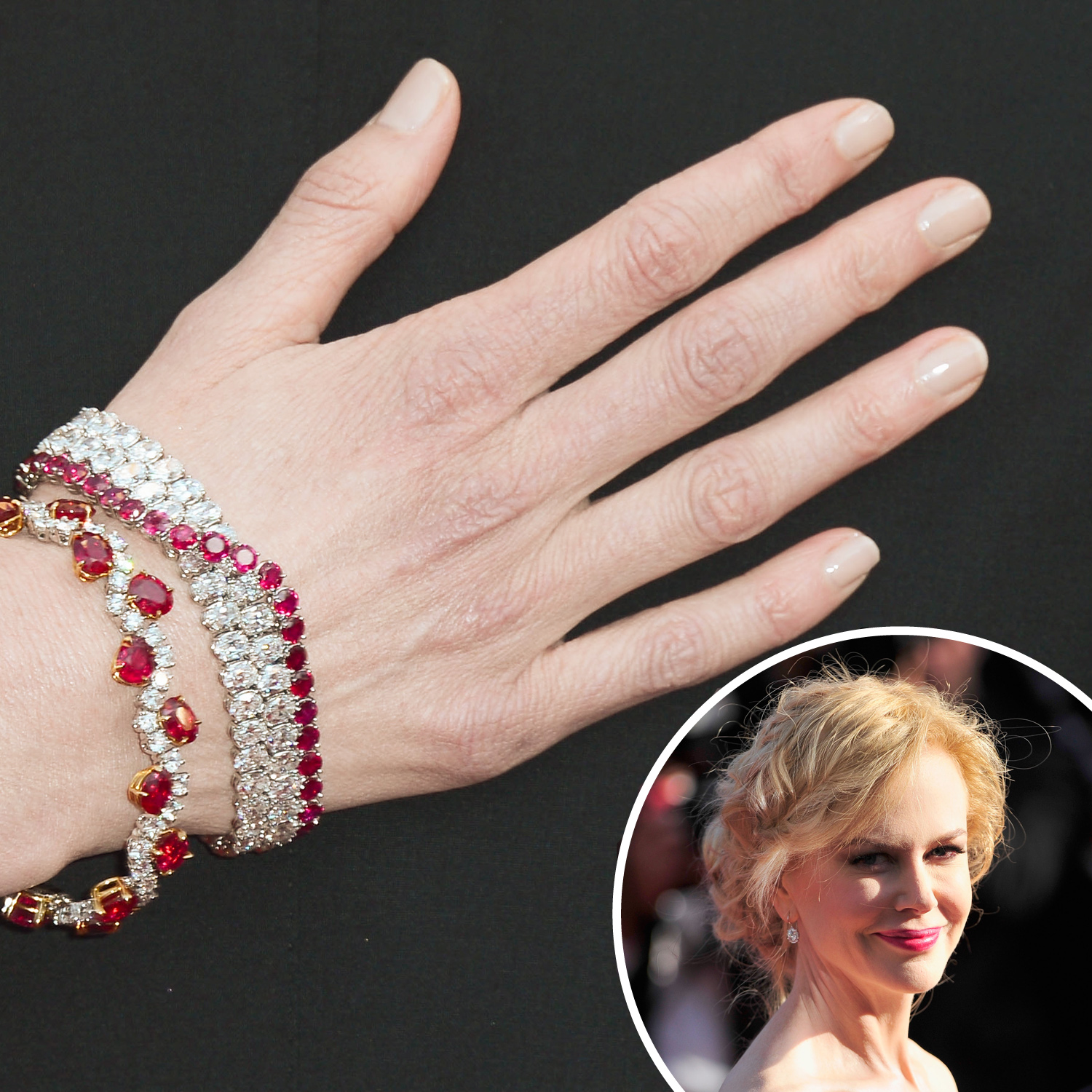 Nicole Kidman wore a nude nail color that matched her ivory complexion to really let her jewels stand out at the closing ceremony.