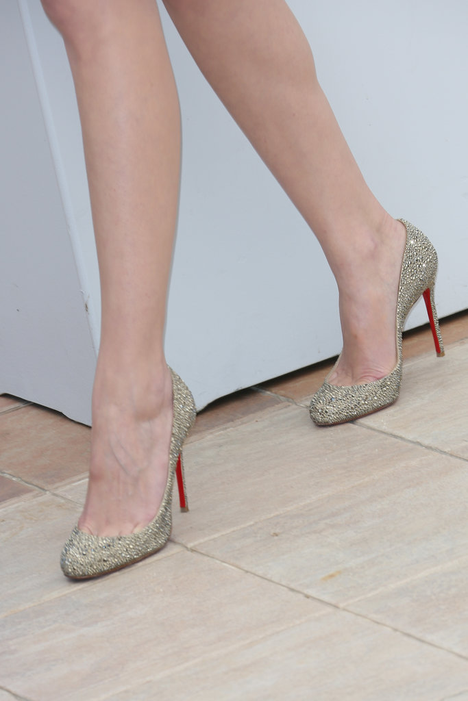 Marion Cotillard wore a pair of gold studded Christian Louboutin pumps.