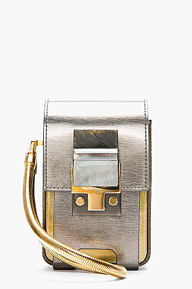 LANVIN Silver coated calfskin Partition Camera Bag