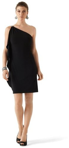 Buckle One-Shoulder Black Dress